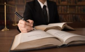 a lawyer writing