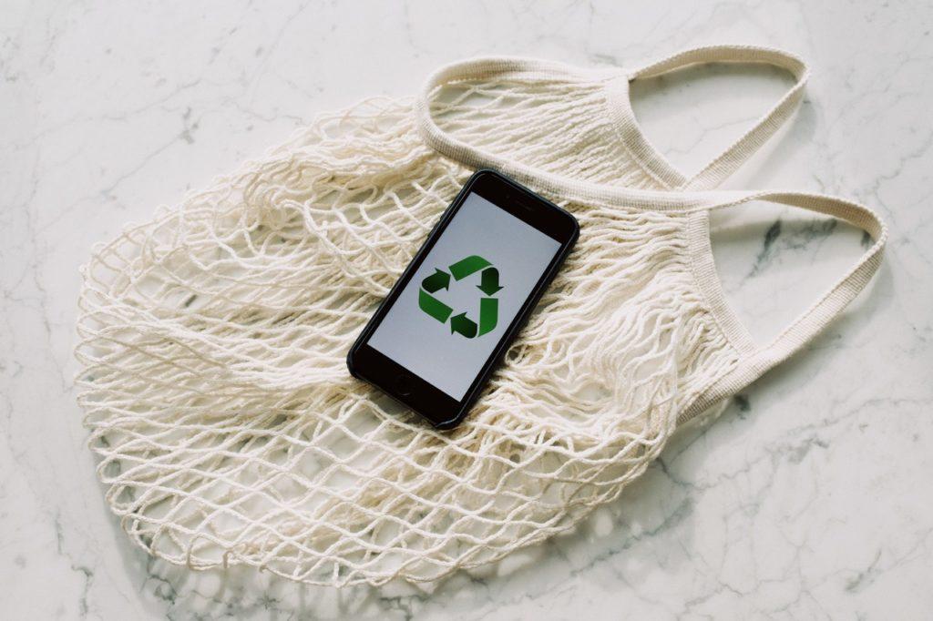 reusable bag and phone